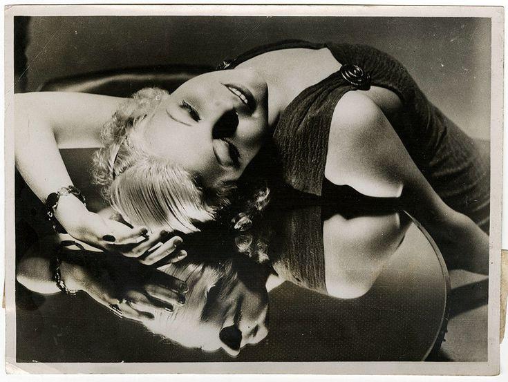 Languid Art Deco Beauty Muriel Evans Vintage 1934 Mirror Reflection Photograph