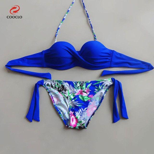 hot sale floral print bikini bandeau top sexy bikini women swimwear multi color biquinis brazilian new style swimsuit