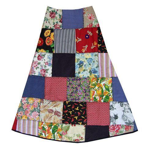 Pra quem ama patchwork e moda artesanal, essa saia significa muito mais que uma peça de roupa. Produzida com todo o talento e carinho da Má...