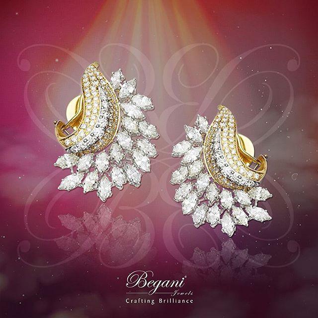 Elegant ear tops studded with magnificent marquise diamond's. #beganijewels #begani_jewels #diamonds #beautiful #earrings #elegantdesign #jewelry #highfashionjewelry#luxury#highend