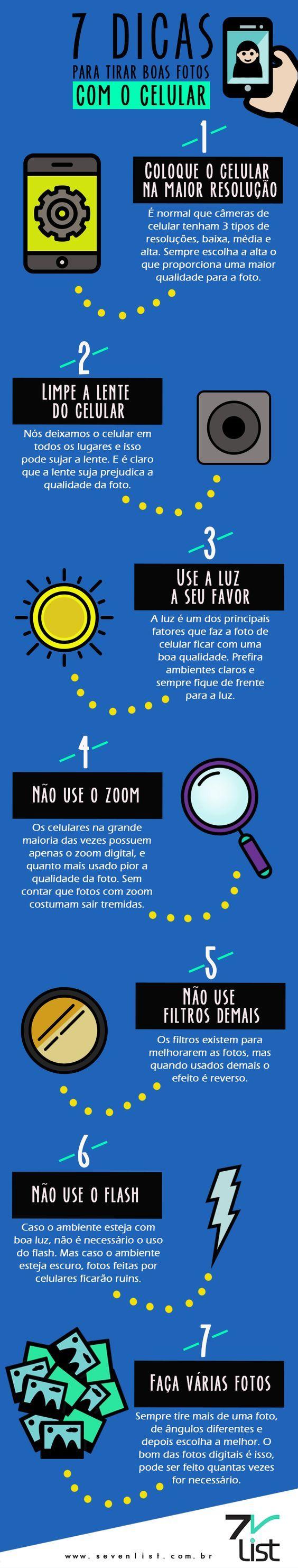 #Infográfico - 7 #Dicas para Tirar Boas Fotos com o Celular