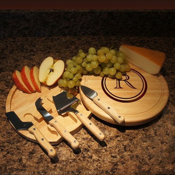 "Personalized Cheese Board and Tool Set with Monogram Options & Engraved Font Selection (Each - 10"" Diameter) Wedding Gift by DesignstheLimit #TrendingEtsy"