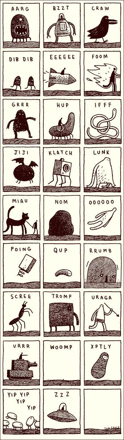 Noisy Alphabet by Tom Gauld, cabanonpress #Illustration #Alphabet #Phonics: