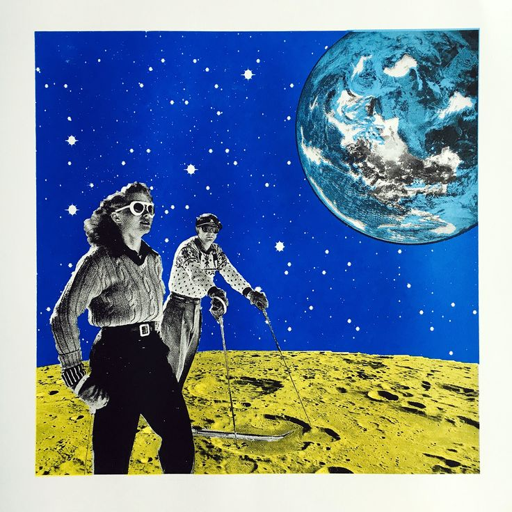 Space Hiking, Handmade Screenprinting, Surrealism, surreal art, space and stars