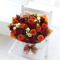 Autumn Rose and Germini Hand-Tied Bouquet. For delivery in Ireland and UK. Online from www.lamberdebie.com