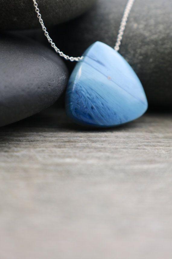 Zweedse blauw, ijzeren slakken ketting, zee glas tegenhanger, nautische sieraden, strand Comber, Ocean Wave tuimelde,…