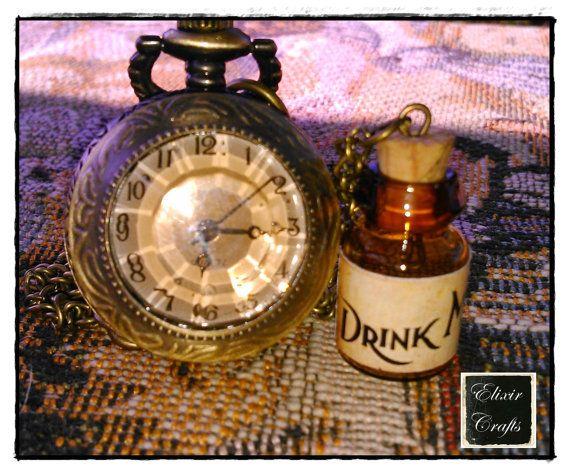 DRINK ME Bottle Retro Pocket Watch Long Necklace by ElixirCraftsGr