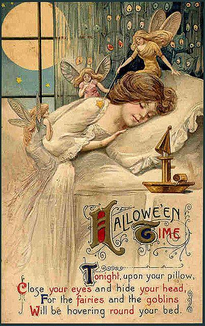 Famous Vintage Halloween Fairies/Woman Sleeping Postcard | Flickr - Photo Sharing!