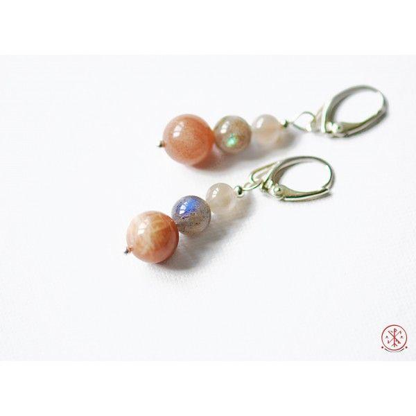 Sunstone, moonstone and labradorite earrings