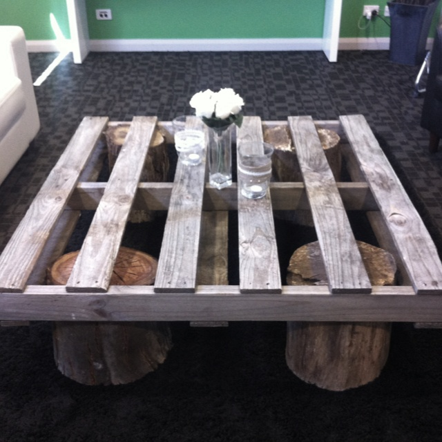 Low Coffee Table Made From An Old Wooden Crate Wood Stumps Glass On Top Would Create A Great