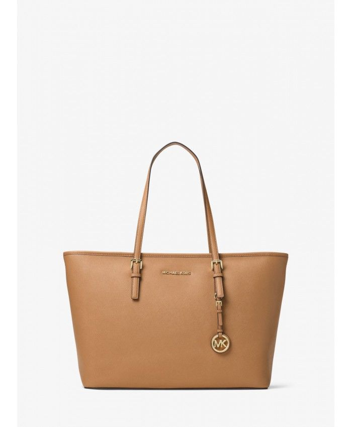 d3fcc5916e3f Michael Kors Acorn1 Jet Set Travel Medium Saffiano Leather Top-Zip Tote  30T5GTVT2L-1164
