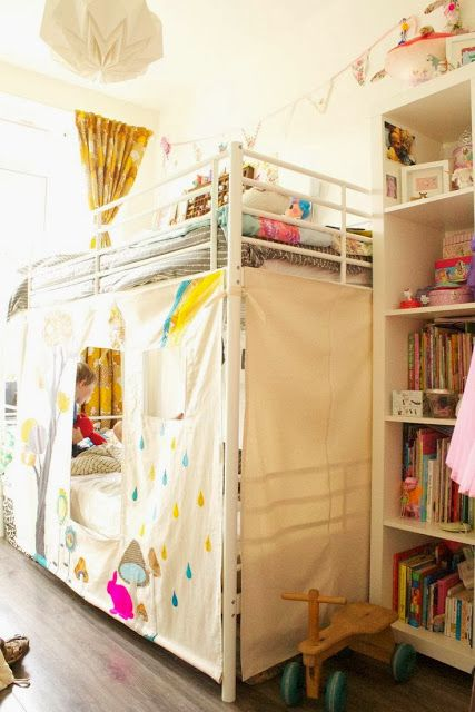the boo and the boy: eclectic kids' rooms...use the muslin fabric for the curtain tent idea ...love this idea