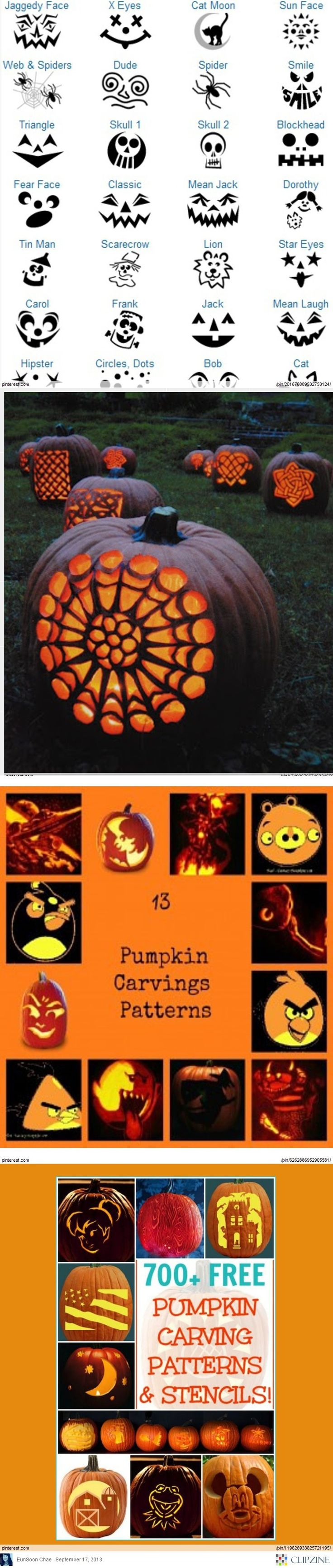 Pumpkin Carving Patterns~ awesome ideas to try!