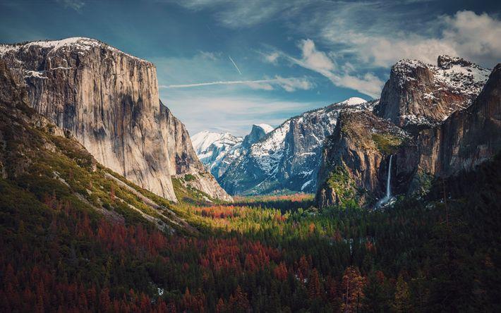 Hämta bilder Yosemite Valley, 4k, Yosemite National Park, höst, skogen, Kalifornien, USA