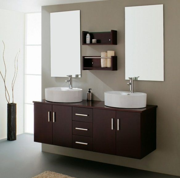 Website With Photo Gallery Bathroom Modern Bathroom Design With Twin Frameless Mirror And Hanging Wooden Vanity Cabinets Plus Wooden