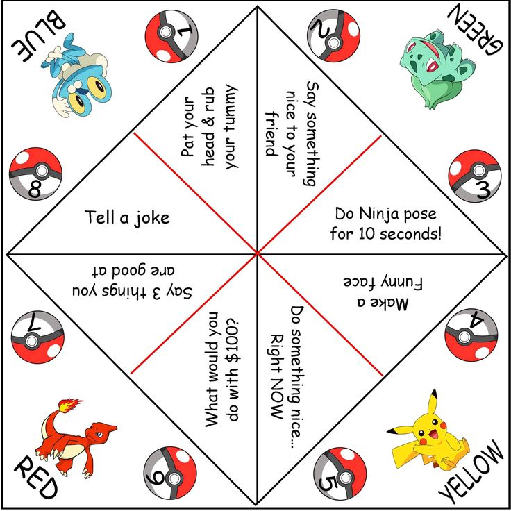 Pokemon Cootie Catchers (AKA paper fortune tellers)