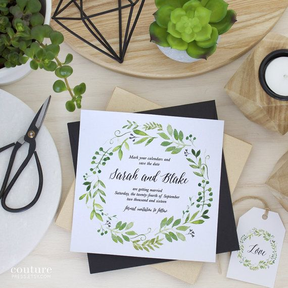 The Spring Green Wreath Save the Date from Couture Press features a gorgeous watercolour image paired with a whimsical modern calligraphy font and a