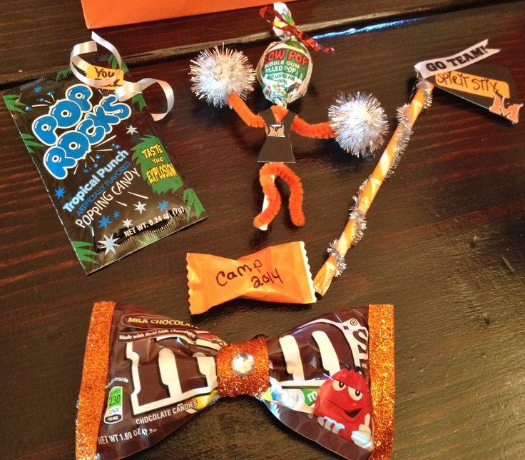 Cheer candy gifts. You rock pop rocks, Pixie stix spirit stix, blow pop cheerleader, bow m&m's