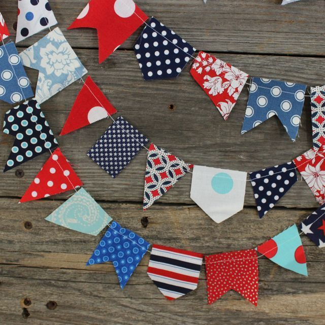 scrappy bunting - patriotic , $28.00 by the pleated poppy