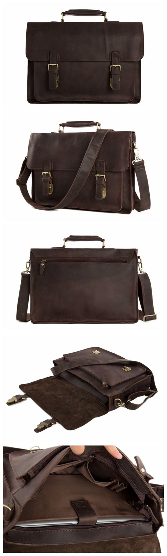 Handmade Vintage Genuine Leather Briefcase Messenger Bag Laptop Bag Men's Handbag