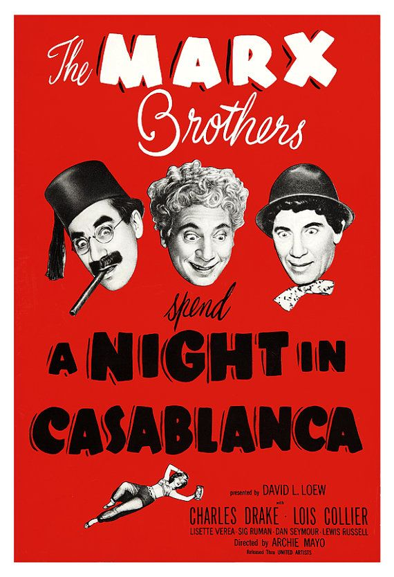 The Marx Brothers - A Night in Casablanca - Home Theater Decor Movie Poster Print -13x19 - Vintage Comedy Movie Poster - Groucho Harpo Chico