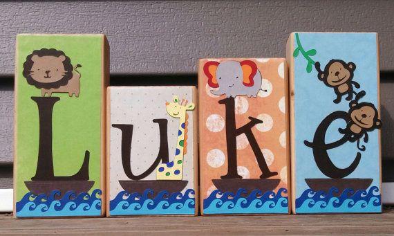 Personalized Wood Name Blocks Luke Lambs & Ivy S.s Noah's Ark Theme- Nursery name Boy Blocks Girl Blocks Nursery decor Baby Blocks