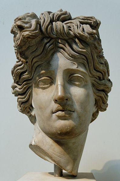Apollo, head of Roman statue (marble), copy after Hellenistic original, 2nd century AD, (British Museum, London).
