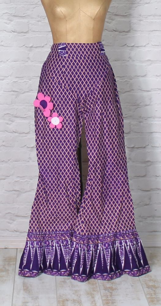 Womens Hippie Trousers Flared Flower Vintage 60s look UK 14/16