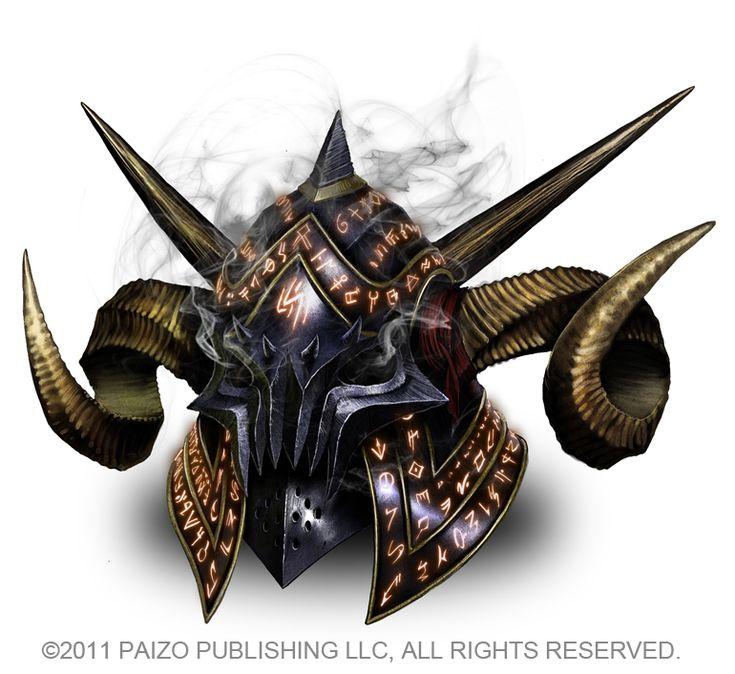 Akeiron, Evil Horned Helmet. Esse poderoso item maligno dá uma série de habilidades ao seu portador, tornando-o possuído pelo demônio Akeiron, do Primeiro Círculo, Legatus da Primeira Legião.