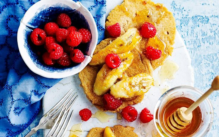 Gluten-free pancakes with grilled honey bananas and raspberries recipe - By…