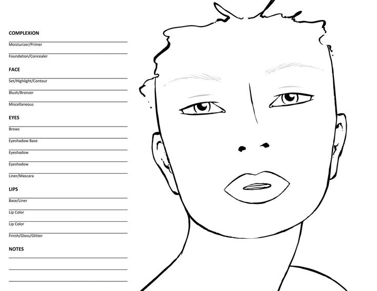 blank face chart for mua