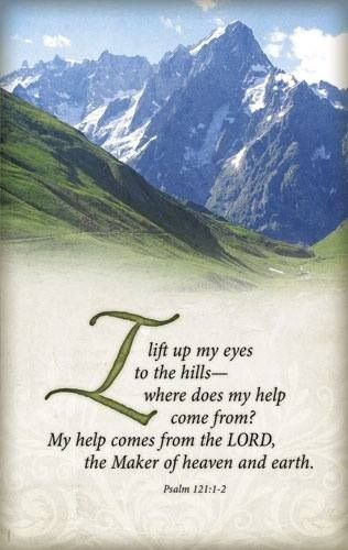 "Psalm 121:1-2  ""A Song of degrees. I will lift up mine eyes unto the hills, from whence cometh my help. My help cometh from the LORD, which made heaven and earth."""