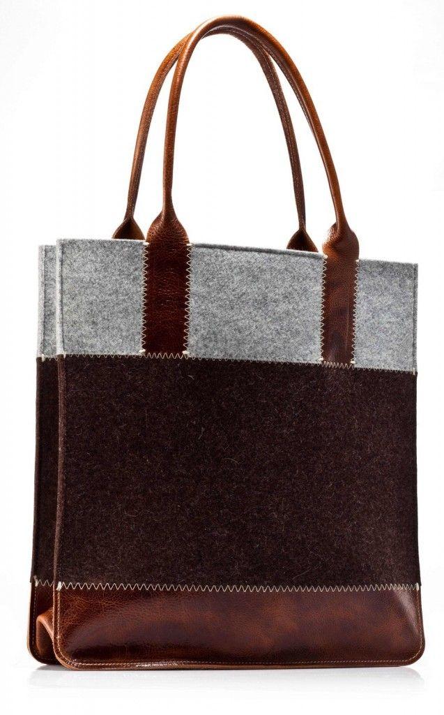 NEW Graf & Lantz merino wool felt and leather tote