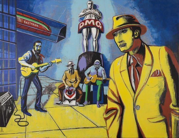 DMG - 3x4 feet, acrylic on canvas. Thinking of Dominic Mancuso Rosendo Chendy León Arocha Tony Zorzi, and Paco Luviano Paco was on another gig.