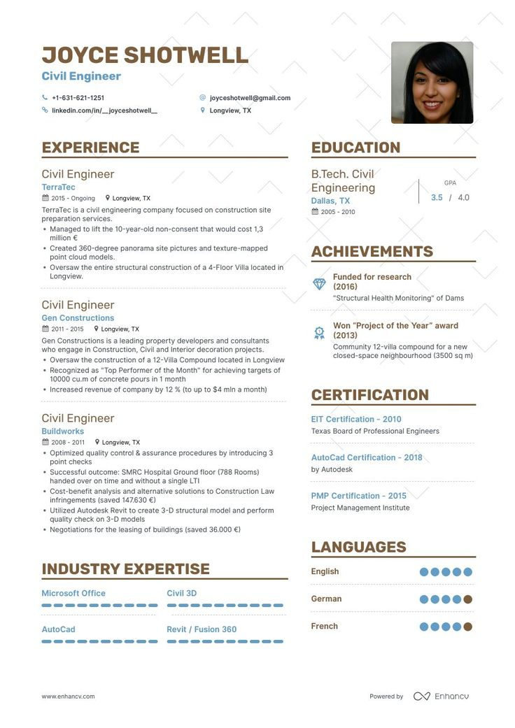 8 civil engineering resume samples examples for 2019