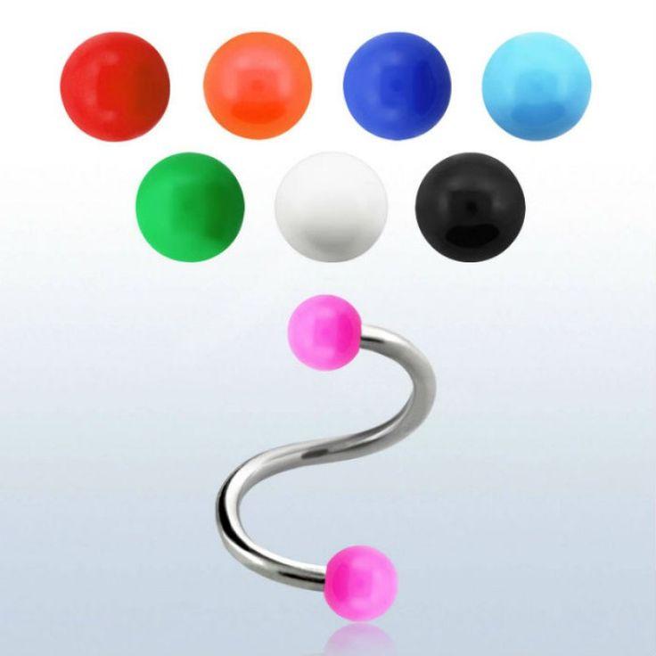Espiral para ceja o labio de acero anodizado de 1,2 mm, con bolas en colores sólidos de 3 mm. Diámetro: 8mm. Ideal para tu piercing de ceja, oreja o , 1.77