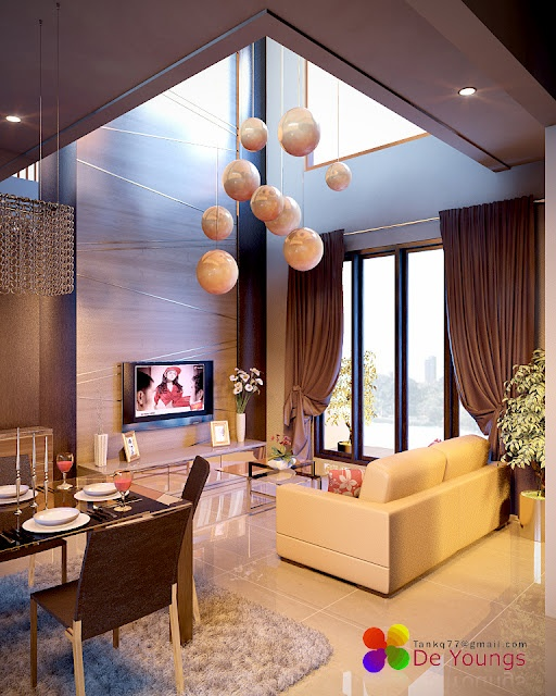 Linda decoraci n para sala doble altura junto a un moderno for Diseno decoracion espacios