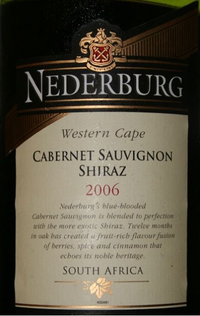 Nederburg, South African Wine. Shiraz.