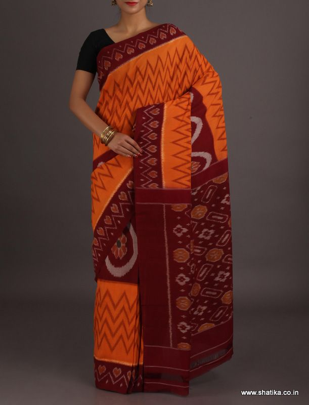 Deepali Half and Half Zig zag and Design Ikat #PochampallycottonSaree