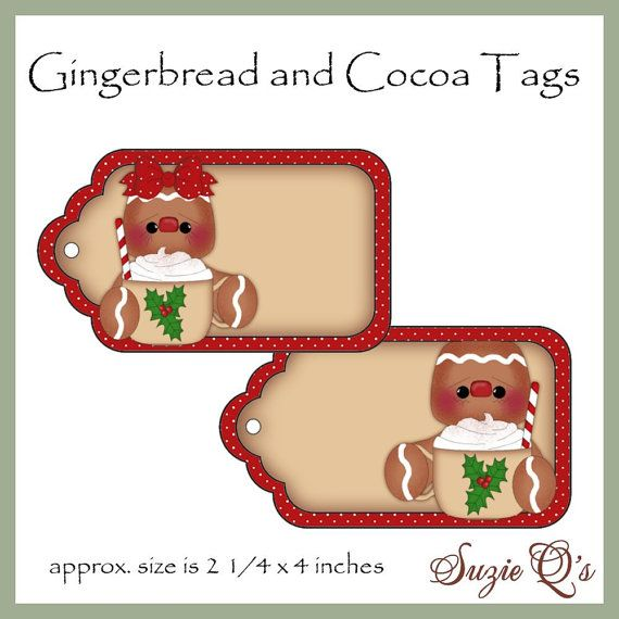 Gingerbread and Cocoa Tags Digital Printables by