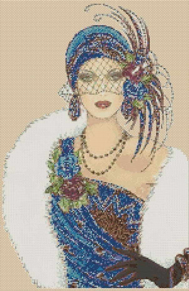 Amazing image is the creation of Flower Power37-UK......Counted Cross Stitch ART DECO LADY in Blue Dress/White Fur- COMPLETE KIT 6vb-39a