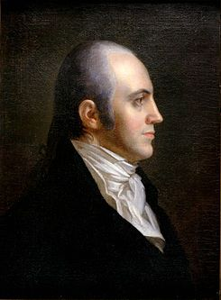 Aaron Burr  (1756-1836)  Lawyer and politician.  3rd Vice President and duellist with Alexander Hamilton.  My cousin.