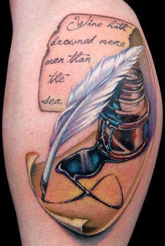 """*check* Right on the forearm. ---- The perfect  combination of quill, ink jar, and parchment paper. Tattoo by Megan Jean Morris. But I think I want my quote to say """"It began long ago..."""" or """"imagine"""" or something to that effect."""