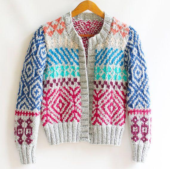 High Fashion Knitting : Ingrid hand knit cardigan fair isle high fashion by
