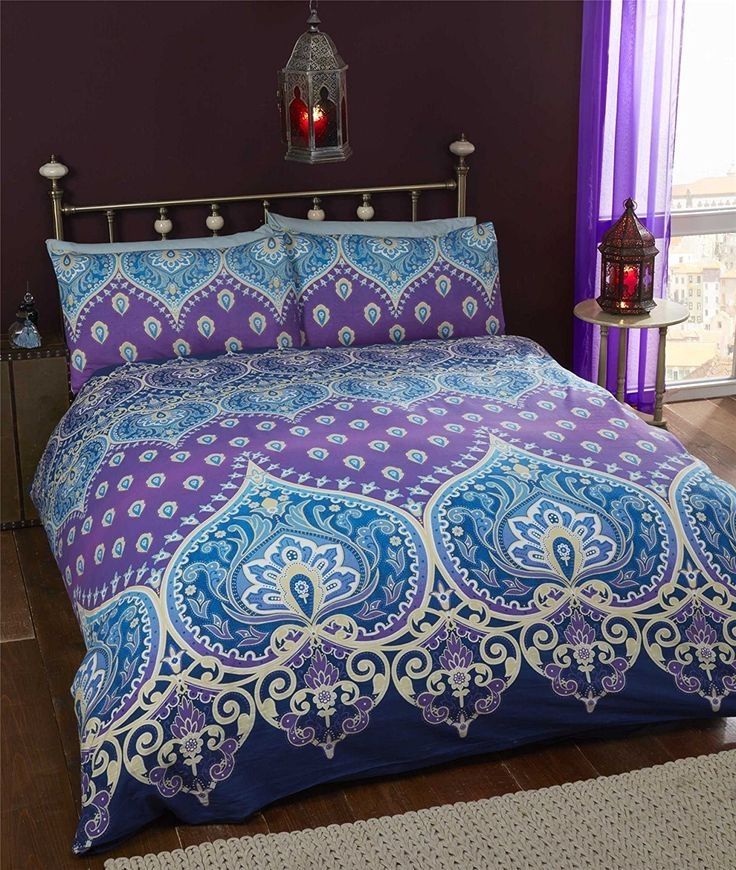 This Asha duvet cover has a traditional Indian theme which will really brighten up any bedroom.Made with a mixture of 52% Polyester & 48% CottonSet includes 1 duvet cover and 2 matching pillow cases.Machine washable.