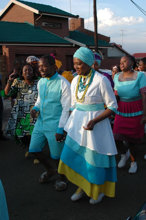 Traditional Sepedi wedding - Bride and Groom's outfits designed and manufactured by Tania at Hot Voodoo