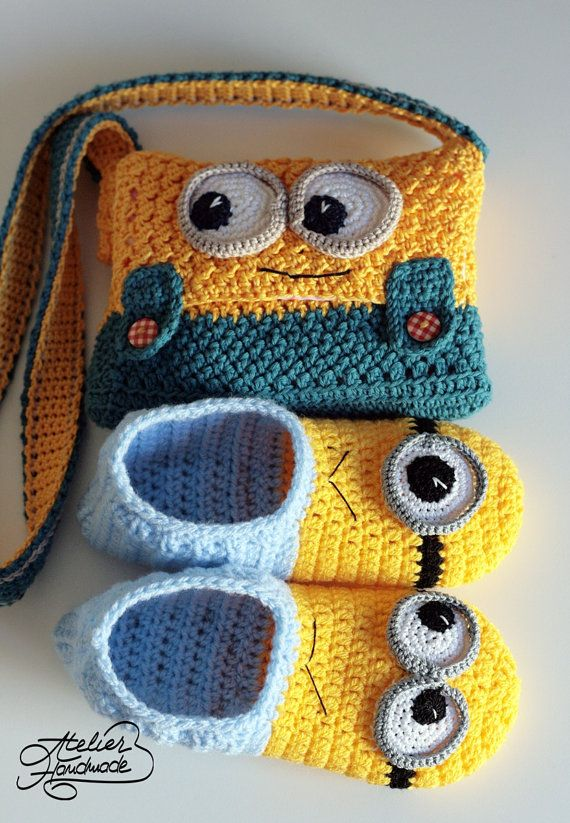 Crochet Patterns Minion Slippers and Purse by AtelierHandmadecom