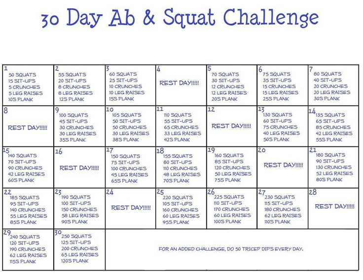 30 Day Ab & Squat Challenge: Can't wait to start doing this. | Health ...