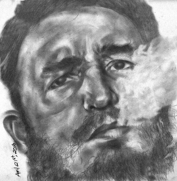Fidel Alejandro Castro Ruz Pencil On Paper A3