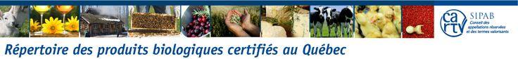 CARTV - SIPAB | Répertoire des produits biologiques certifiés au Québec | http://www.produitsbioquebec.info/